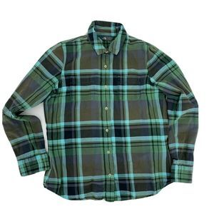 The North Face Flannel Shirt Size L Green Plaid
